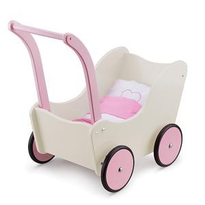 New Classic Toys - Poppenwagen met Beddengoed - Crème